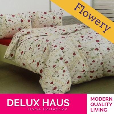 "Komplet 4 u 1: posteljina sa prekrivačem ""FLOWERY"""