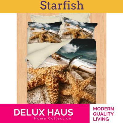 "3D posteljina za bračni krevet ""Starfish"" - 100% ranforce pamuk"