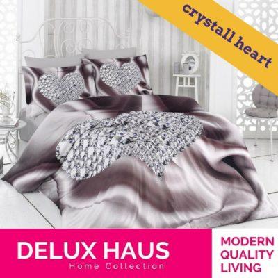 """Kvalitetna 3D posteljina za bračni krevet """"Crystal Heart"""" - 100% Ranforce Pamuk."""