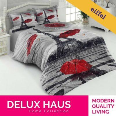"""Kvalitetna 3D posteljina za bračni krevet """"Eiffel"""" - 100% Ranforce Pamuk."""
