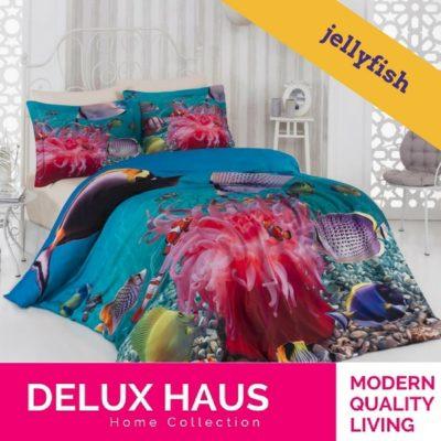 """Kvalitetna 3D posteljina za bračni krevet """"Jelly Fish"""" - 100% Ranforce Pamuk."""