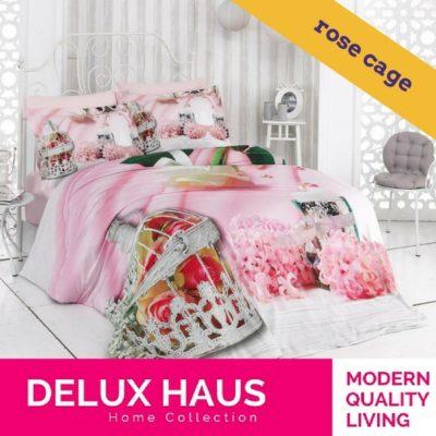 """Kvalitetna 3D posteljina za bračni krevet """"Rose Cage"""" - 100% Ranforce Pamuk."""