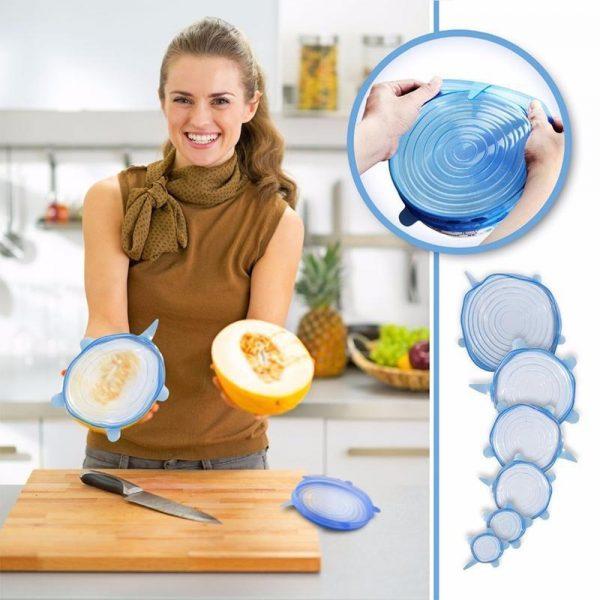 Rastegljivi silikonski poklopci za skladiranje hrane 6kom.