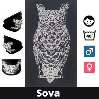 Bandan Maska Sova - Kupi 1 dobij 1 gratis! Za vrat, usta, nos